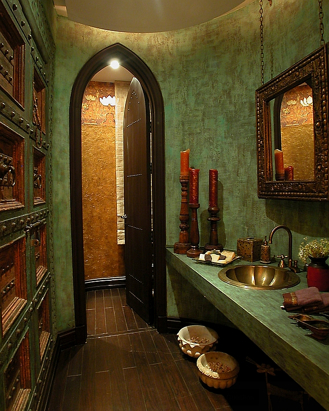 Rich color and texture usher in the Classic Moroccan Style in this bathroom