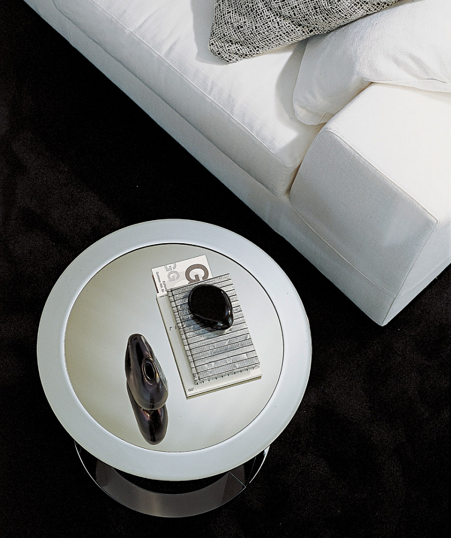 Stylish round coffee table in metal chrome also doubles as a side table