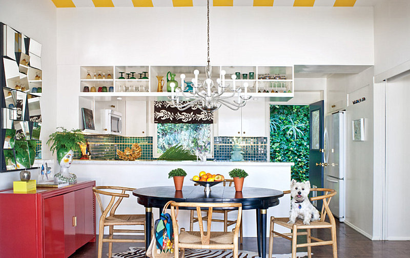 Teal and gold details in a colorful kitchen