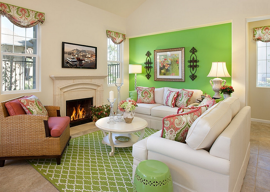 A bold splash of green in the living room