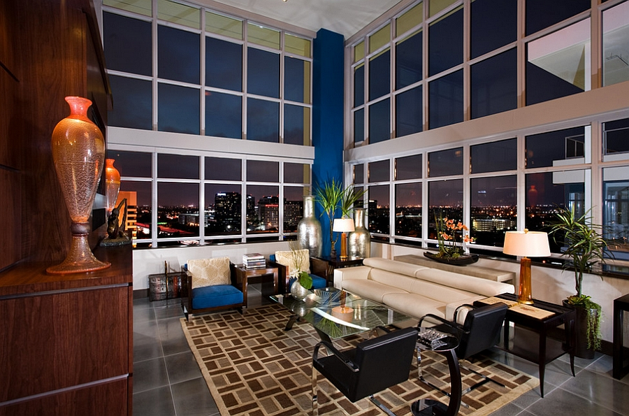 City skyline becomes an integral part of the living room