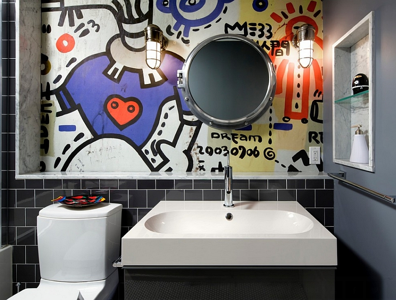 Contemporary bathroom with a graffiti wall mural [Design: Black General Contracting]