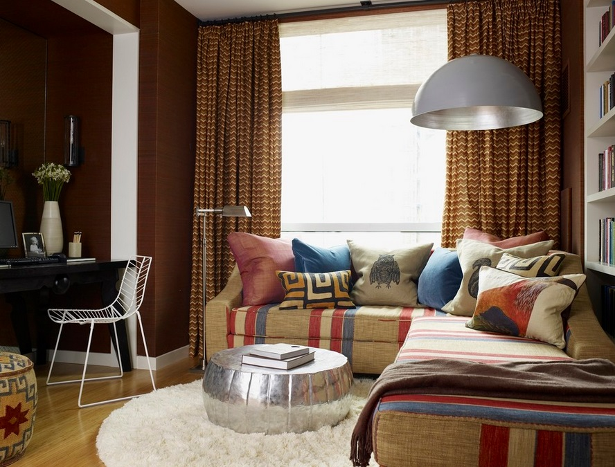 Earthy modern living room with a textured rug