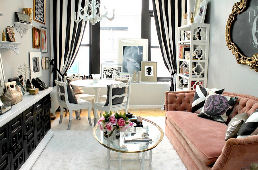 Feminine living room in black and white with pops of pink