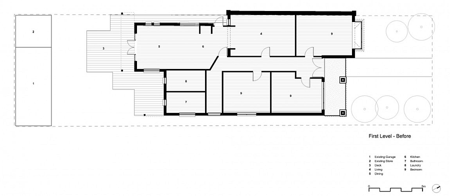 Floor plan of the Elwood House before renovation