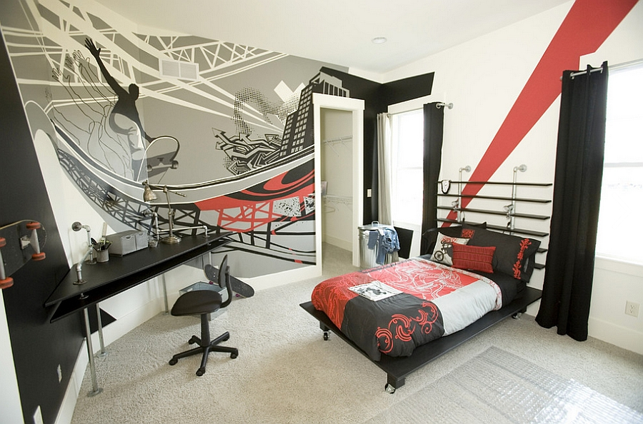 Hand painted graffiti-style wall mural for the bedroom [Kimberly Fox Designs / Painted by Ben Callahan]