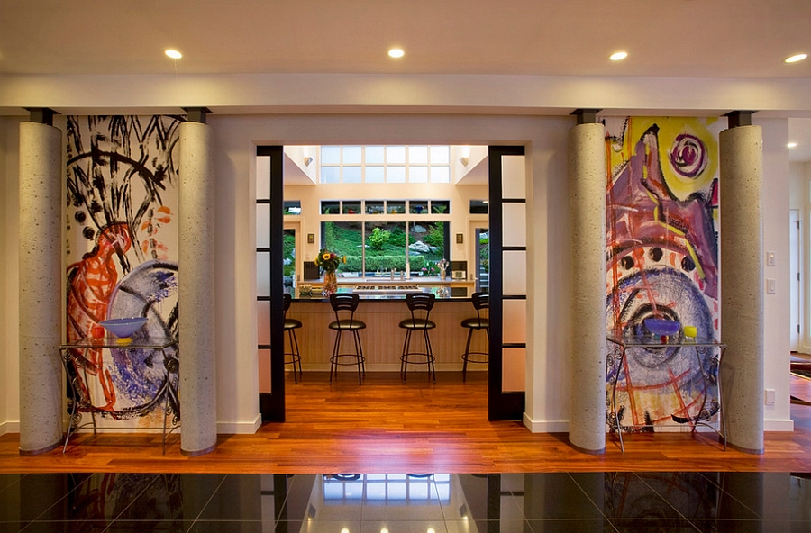 Highlight the entrance of the room with graffiti additions [Design: Tutmarc Architects]