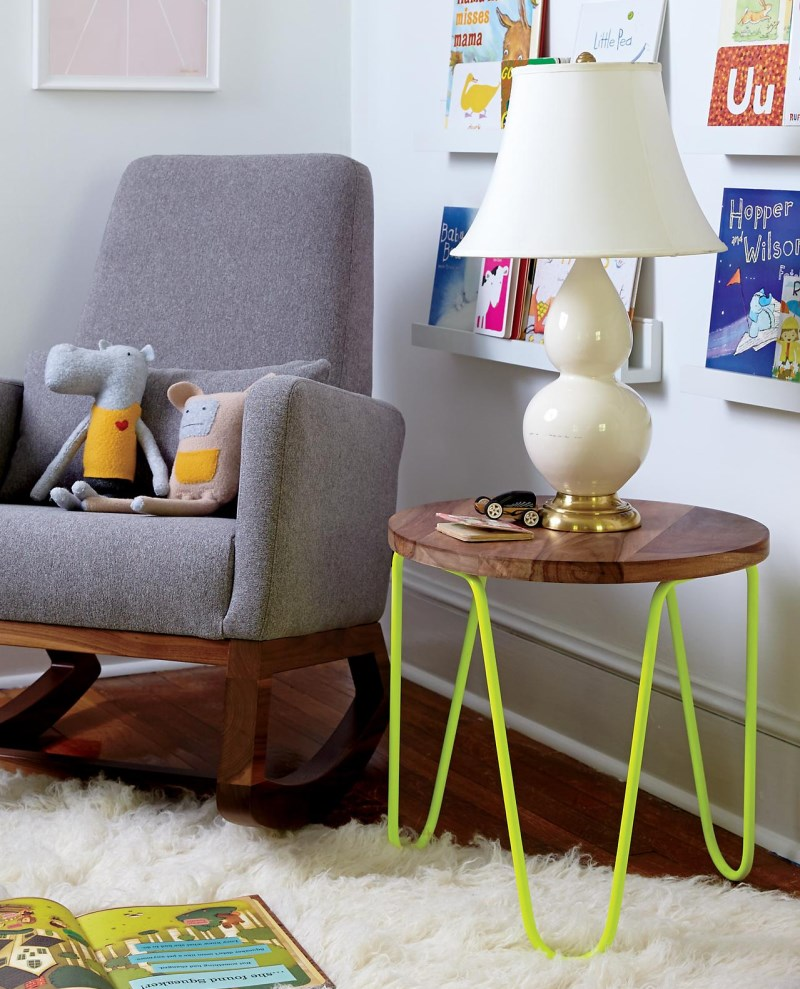 Neon yellow table with wood and metal