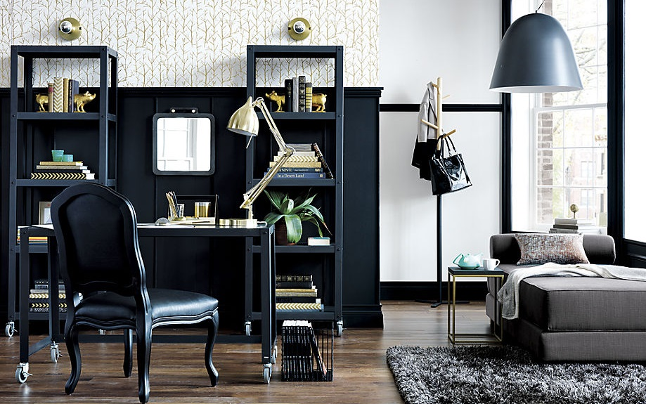 Office space with a textured nook