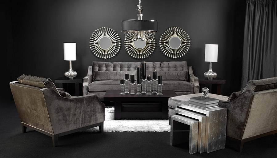 Posh living room with a multitude of textures and finishes