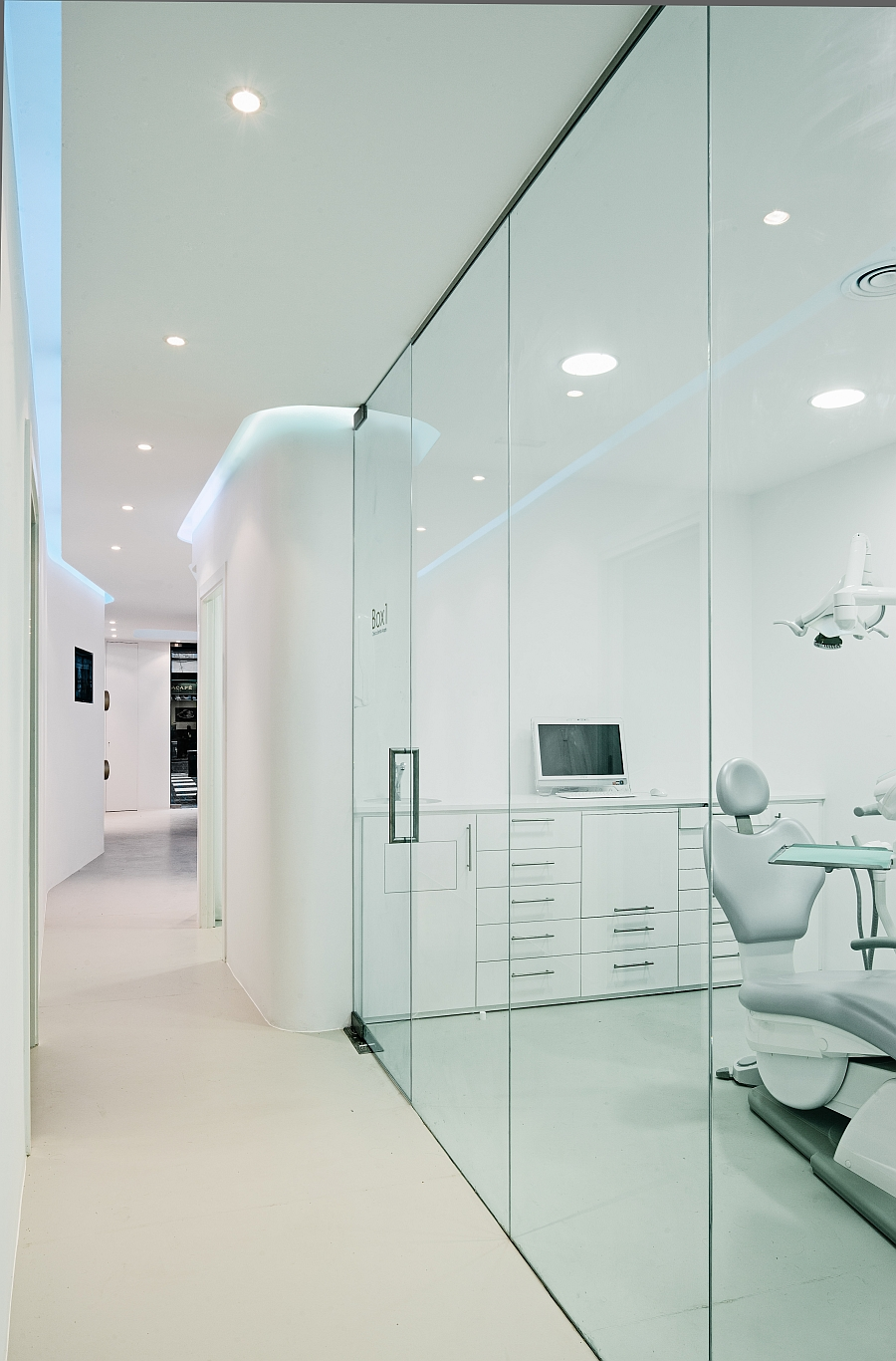 Smart usage of space with glass partitions and lovely curves