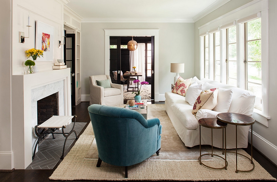 Tall nesting tables stand out visually in the transitional room