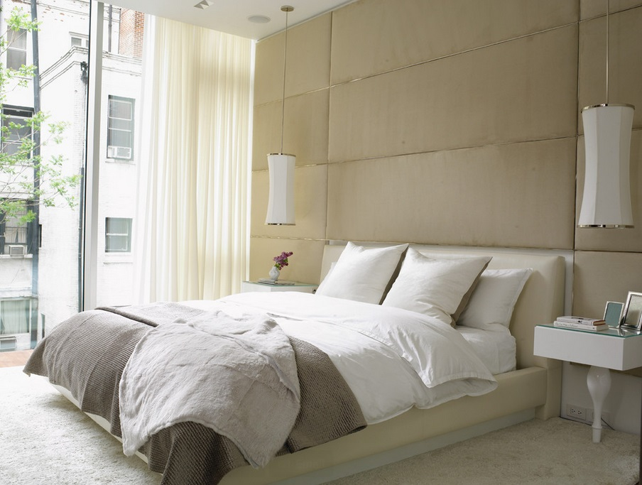 Textured bedroom filled with neutral tones