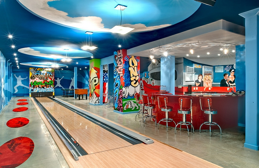 Turn your basement into a fun bowling alley [By Tamara Bickley Design]