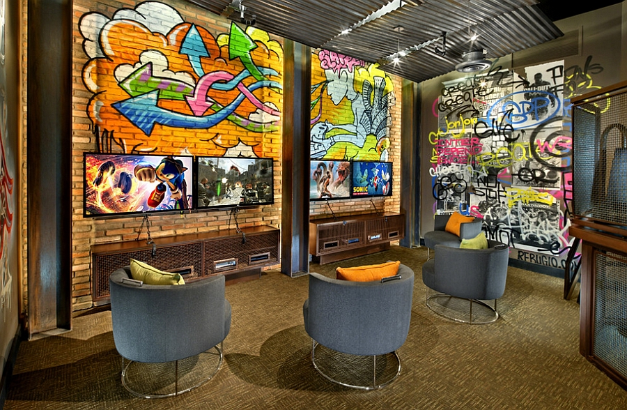 Vivacious custom graffiti enlivens the snazzy home theater [Design: KDS Interiors]
