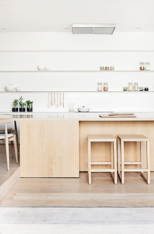 Beautiful modern kitchen with sleek floating shelves