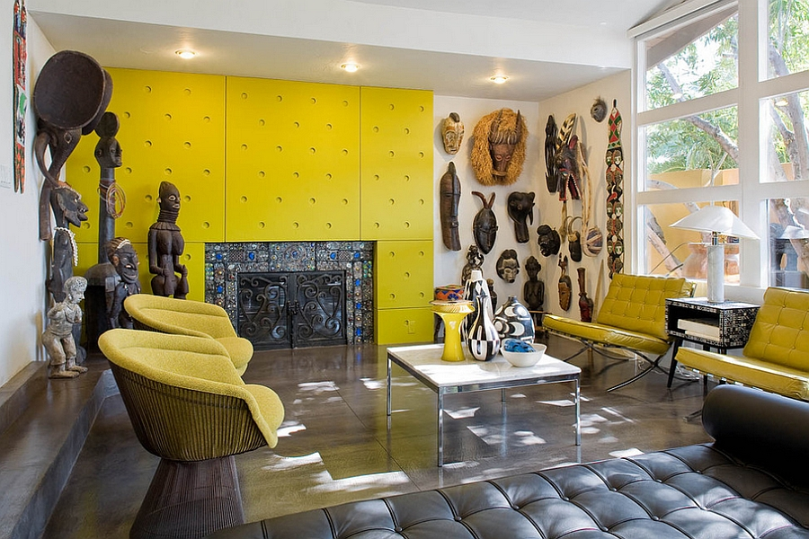 Colorful living room with an African theme