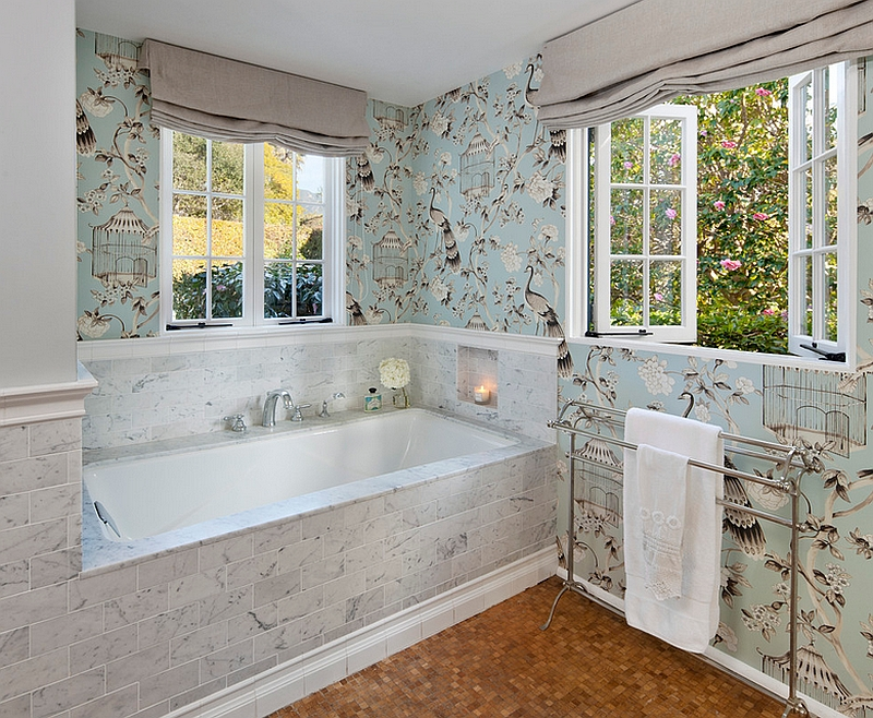 Colorful wallpaper brings the bathroom alive [Design: Elizabeth Vallino Interiors]