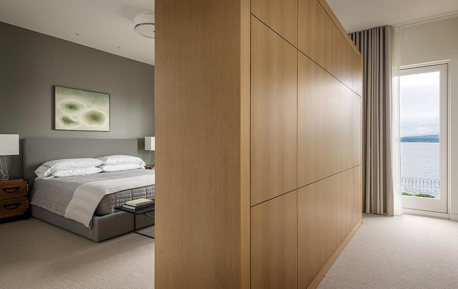 Cozy bedroom in grey