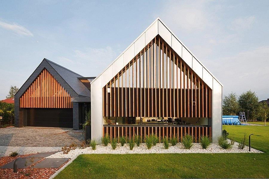 Distinct facade of the contemporary Two Barnes House