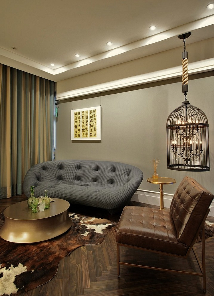 Eclectic living room with a bird cage lighting option [Design: PLAN Design Group]