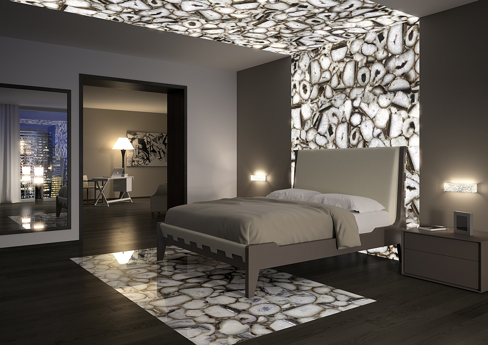 Exquisite modern bedroom with crystal agate accent addition