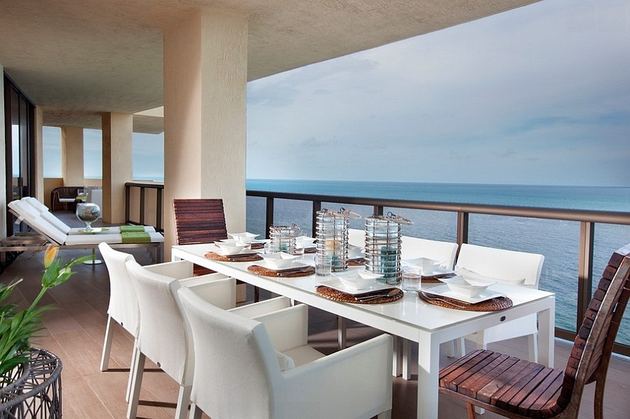 Fabulous outdoor dining space with ocean view