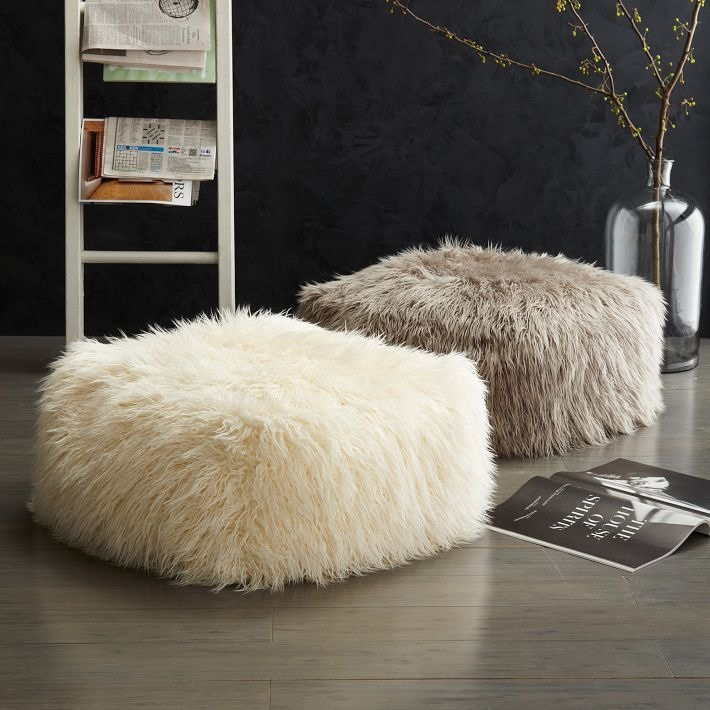 Faux wool poof from West Elm