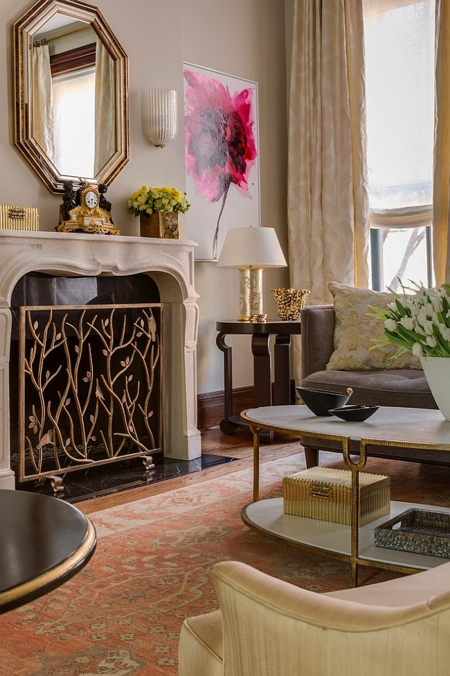 Fireplace screen brings intricate pattern to the room