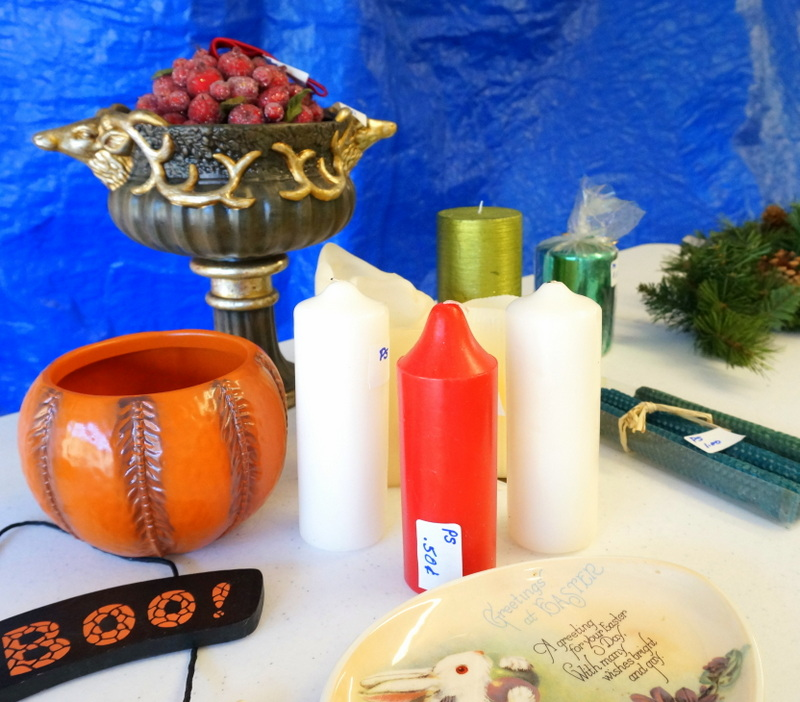 Garage sale table with seasonal items