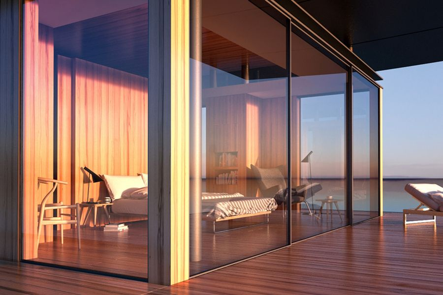 Glass walls bring the outdoors inside