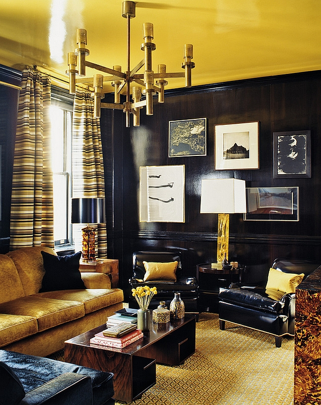 Golden yellow give sthe room a refined vibe