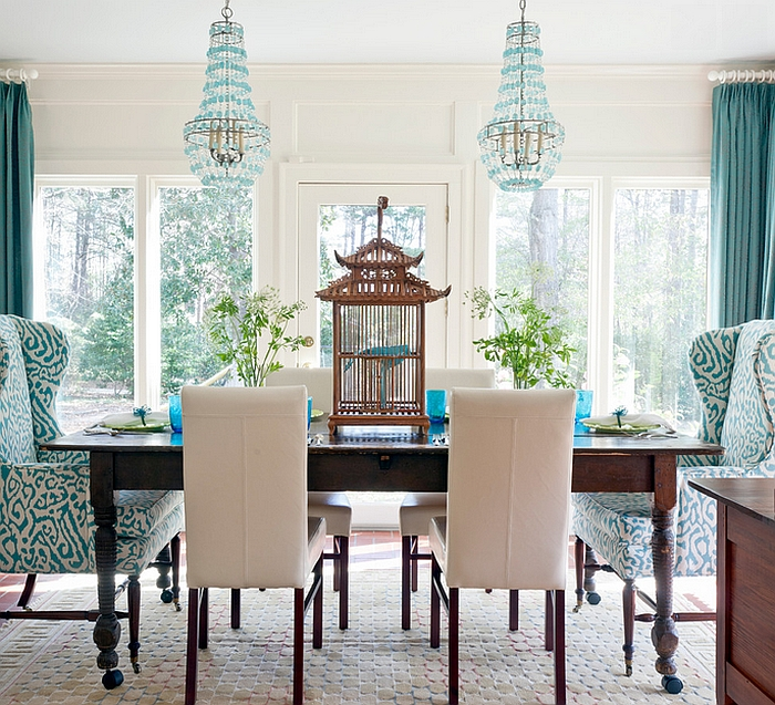 Gorgeous dining room with an array of textures and shapes [Design: Andrea Brooks Interiors]