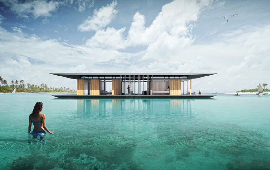 Gorgeous floating house with transportable base