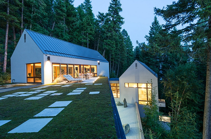 Green roof of the Pool House with unabated lake views