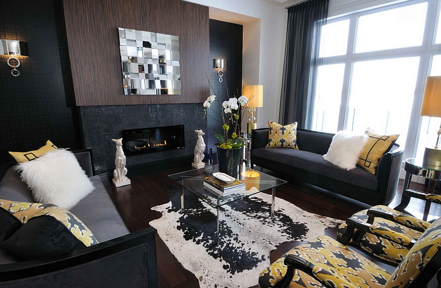 Interesting yellow accents add cheerful elegance to the dark living room