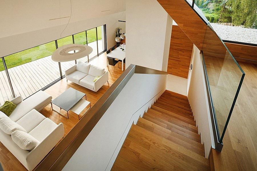 Interior of the Two Barn House with warm wooden surfaces