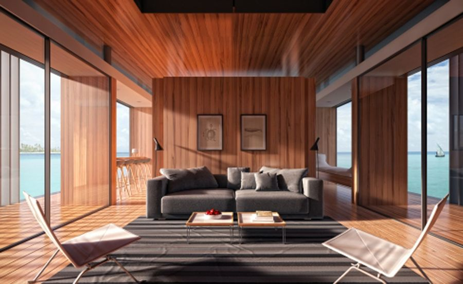 Living room of the stylish floating house