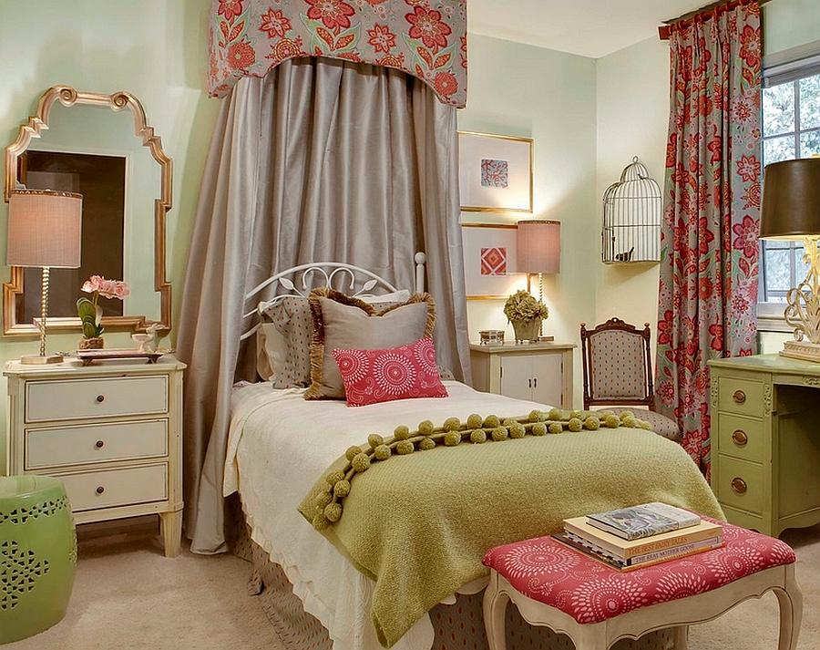 Lovely girls' bedroom with a birdcage in the corner [Design: McCroskey Interiors]
