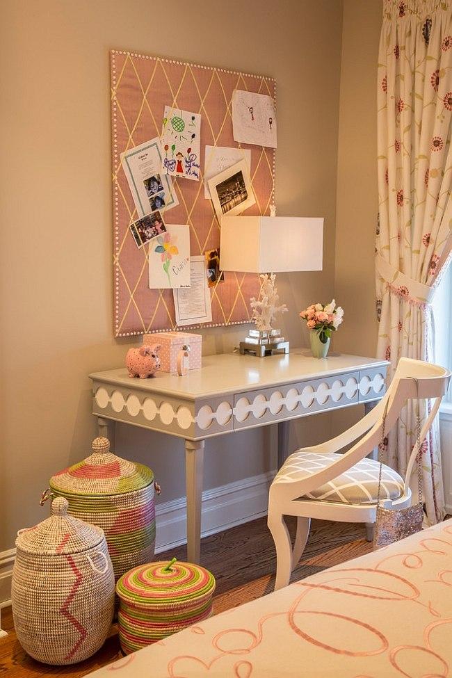 Lovely little desk in the girls' bedroom accentuates the feminine charm