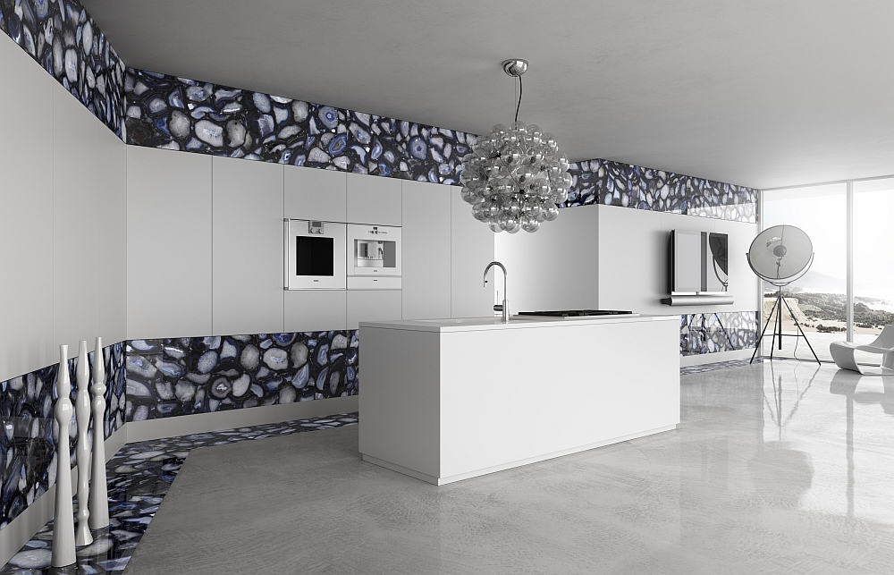 Minimal modern kitchen with black crystal agate addition