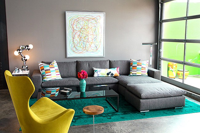 Modern living room with green overdyed rug
