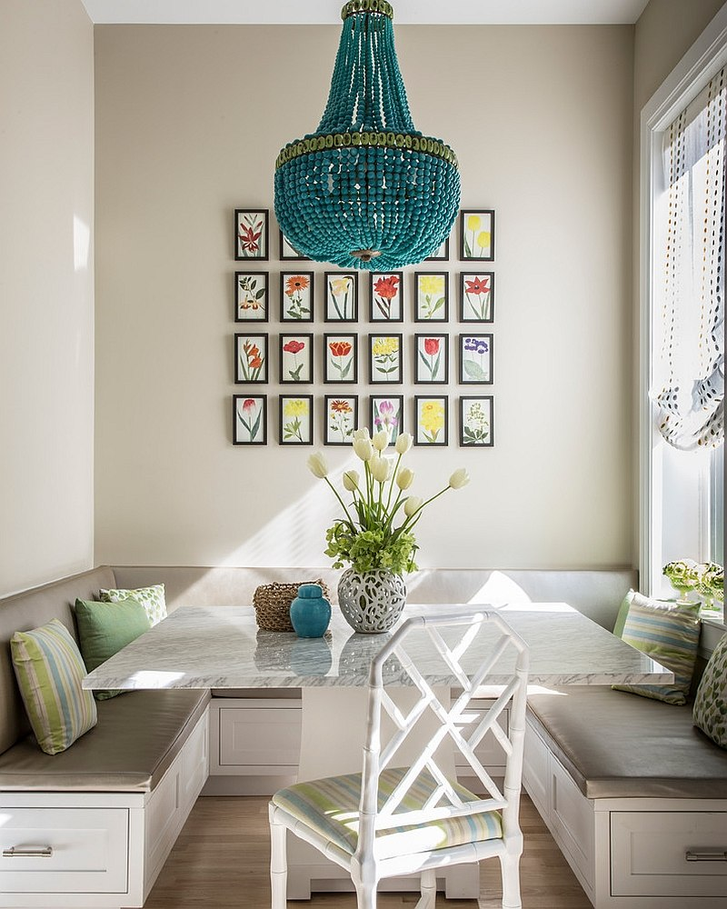Perfect way to transform the kitchen corner nook into small dining area