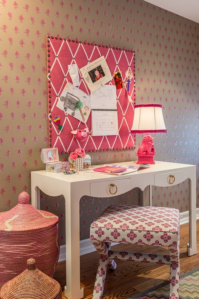 Pink gives the room a trendy, feminine touch