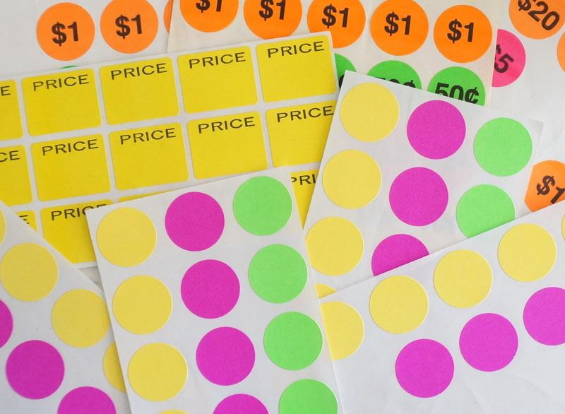 Price stickers make garage sale prep easy