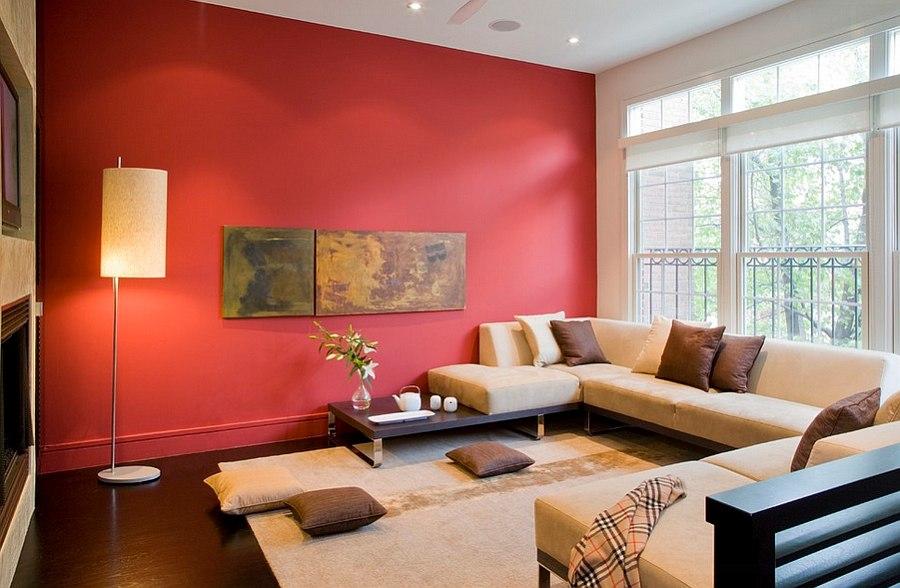 Semi-minimal living room with bold splash of red