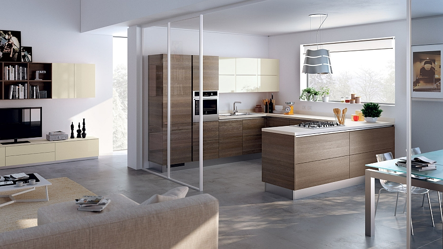 Sliding glass doors separate the kitchen from the living space