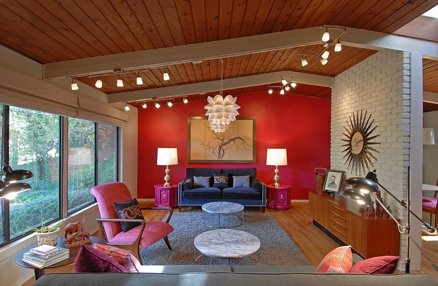 Spacious living room combines hot pink with red