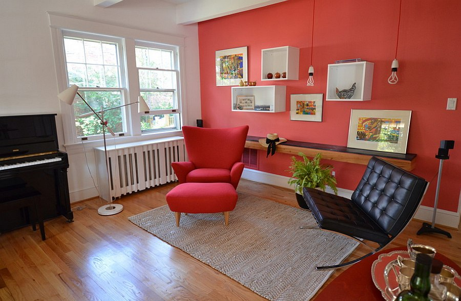 Trendy little living space with plenty of red