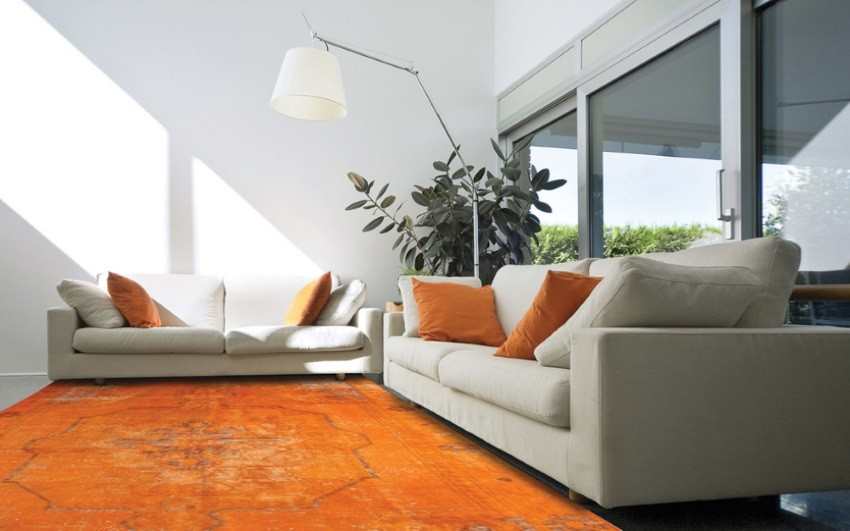 White living room with an orange overdyed rug